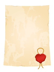 aged vintage paper sheet with blank heart wax seal