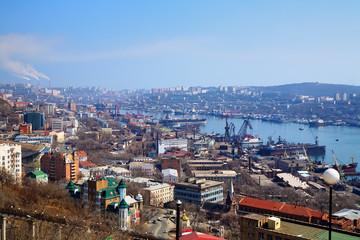 Vladivostok, port in the Golden Horn Bay, Russia