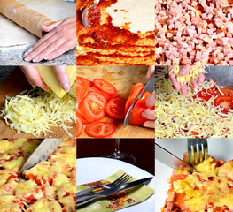 PIzza making collage