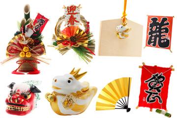 2012正月飾り写真素材多数一面 干支 絵馬 門松