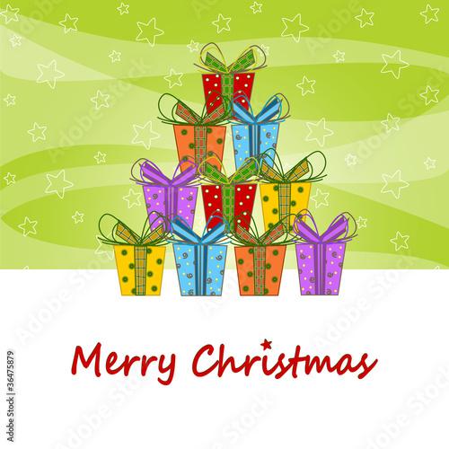 Buon Natale Regali Natalizi Formano Un Albero Di Natale