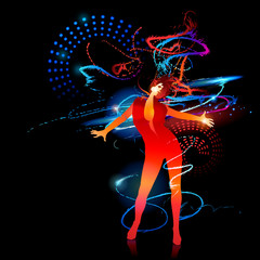 The dancing girl with shining splashes on a black background