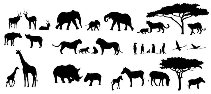 Afrika Tiere Bäume Savanne Silhouetten Set