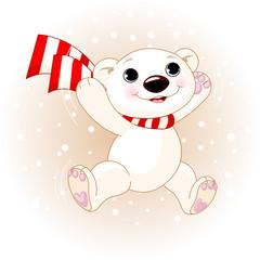 Cute Polar Bear jumping