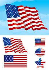 Set of American flag