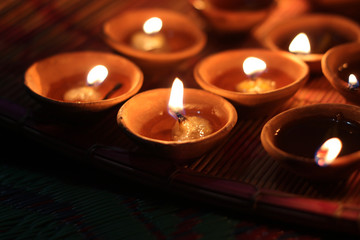 traditional lamps on the festival of diwali