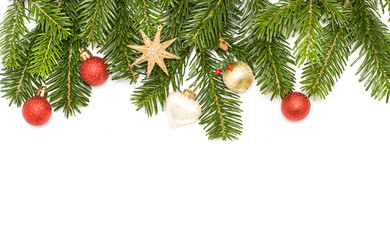 Christmas tree with decoration isolated