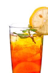 Ice lemon tea close up