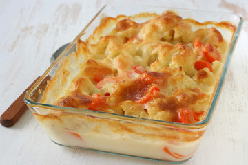 Vegetables baked with sauce