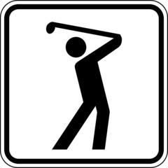 Fototapete - Golf spielen Golfplatz Schild Zeichen Symbol Grafik