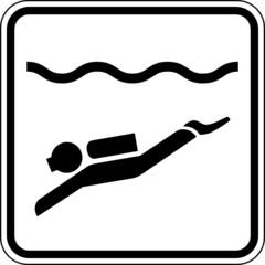 Fototapete - Tauchen Schild Zeichen Symbol Grafik Vektor
