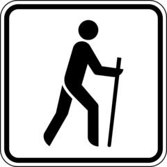 Fototapete - Wandern Nordic Walking Laufen Schild Zeichen Symbol