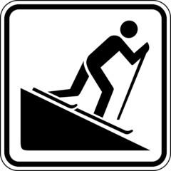 Ski fahren Piste Skifahrer Schild Zeichen Symbol Sport