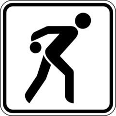 Fototapete - Bowling Kegeln Kegelbahn Schild Zeichen Symbol