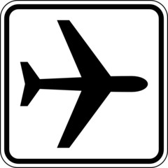 Fototapete - Flugzeug Flughafen Schild Zeichen Symbol