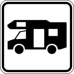 Fototapete - Wohnmobil Reisemobil Camping Schild Zeichen Symbol