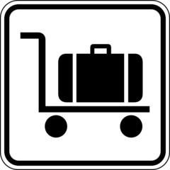 Fototapete - Gepäckwagen Kofferkuli Transport Schild Zeichen Symbol