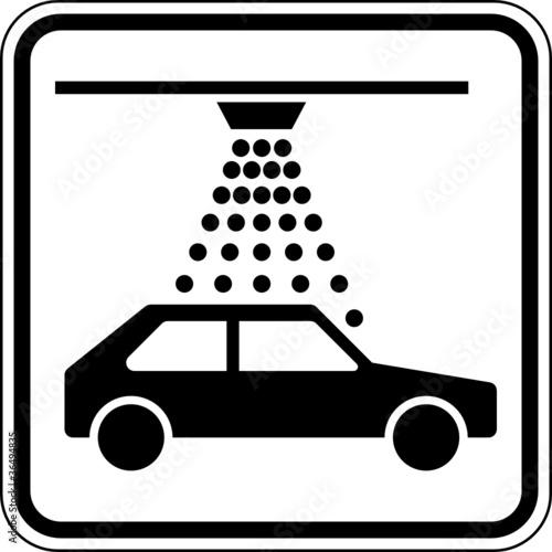 Waschanlage Auto Waschen Schild Zeichen Symbol Stockfotos Und