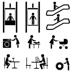 Black people icons vector set.