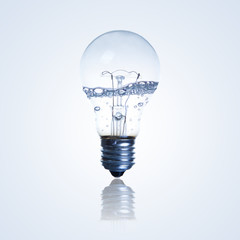 Light bulb with water in side