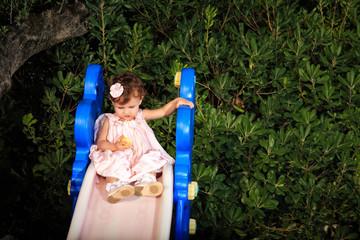 kid portrait on a garden