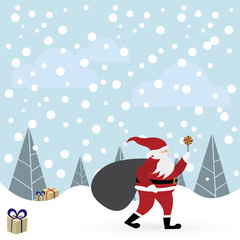 Santa Claus with candle in winter forest vector illustration