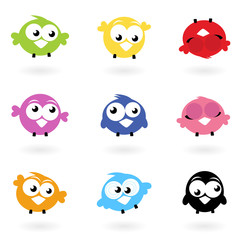 Photo sur Toile Oiseaux, Abeilles Cute color vector Twitter Birds icons collection isolated on whi
