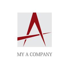 Logo letter A, compass # Vector