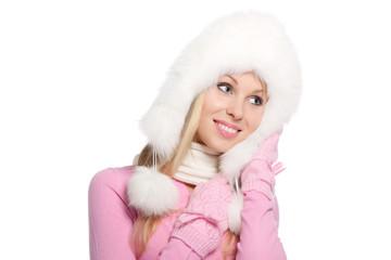 attractive happy smile woman wear winter fur hat scarf gloves