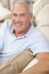 Happy Handsome Senior Man Smiling at Home
