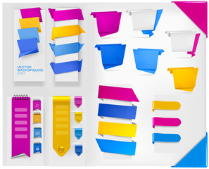 Big collection of colorful origami paper banners and stickers.