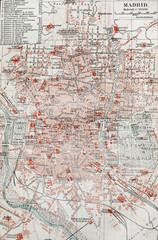 Vintage map of Madrid