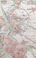 19th century old map of Mannheim