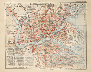 Old map of Saint Petersburg