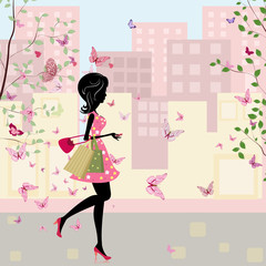 Printed roller blinds Floral woman girl with shopping in the spring