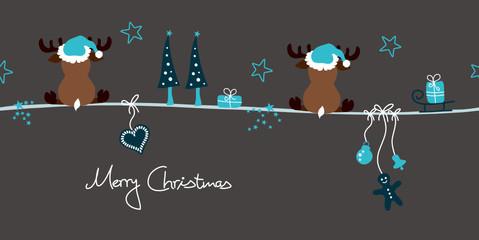 2 Reindeers & Symbols Turquoise/Grey