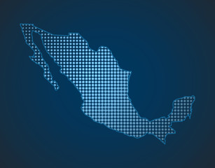 mexico dot map in blue color