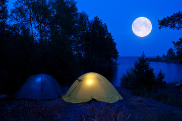 Camping in the moon light