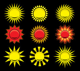set of sun vector illustration