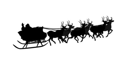 Santa Claus on sledge overwhite
