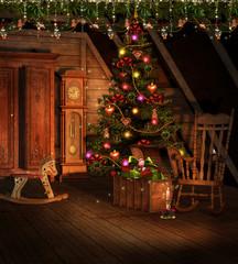Obraz Pokój na strychu ze świątecznymi ozdobami - fototapety do salonu