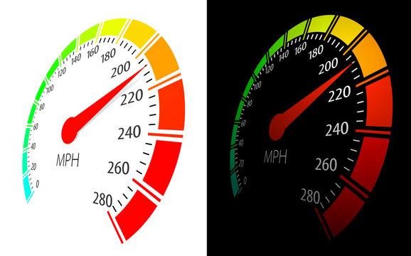 Vector speedometer  in perspective view