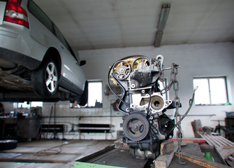 inside a garage (shallow DOF; color toned image)