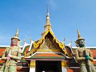 Statue 2 Giant gaurd at Wat Phra Kaew , Bangkok