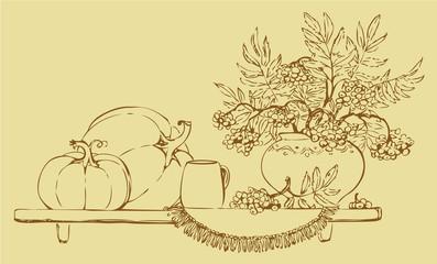 Vector  still life of pumpkins and fruit bunch ash