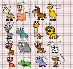 Большой набор различных животных и птиц, мультфильм