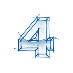Blueprint figure sketch - digit 4 - marker drawing