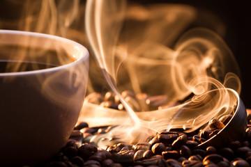 Strange golden smoke taking away from coffee seeds - fototapety na wymiar