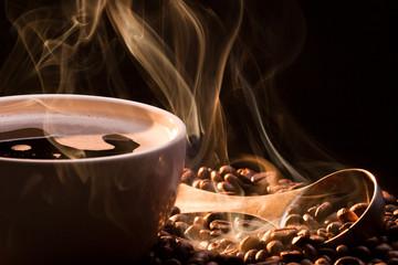 Coffee, smoke and roasred seeds