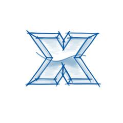 Blueprint font sketch - letter x - marker drawing
